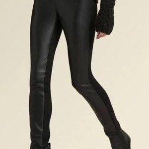 DKNY Donna Karan Leather-front Pant - Black Leggin